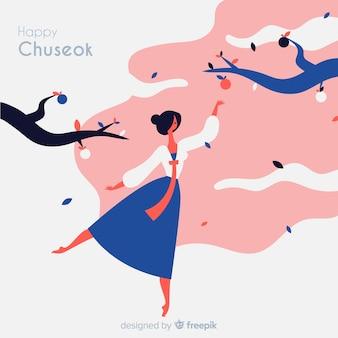 Fondo dibujado de feliz chuseok