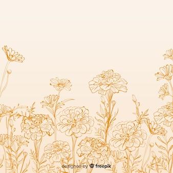 Fondo dibujado de flores y hojas