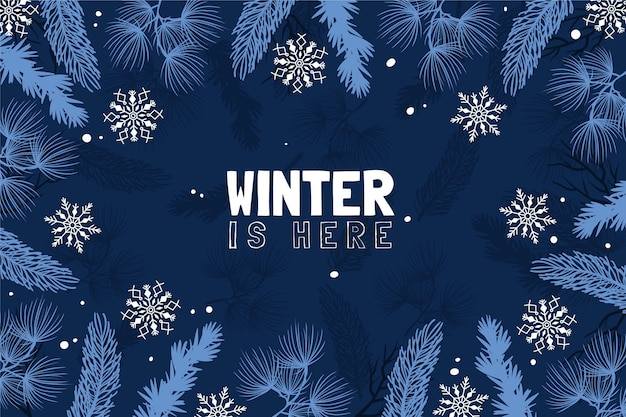 Fondo dibujado con hojas y mensaje de invierno está aquí