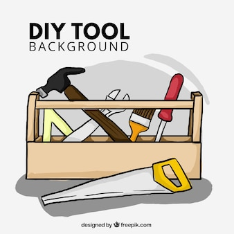 Fondo dibujado a mano acerca de las herramientas de carpintería