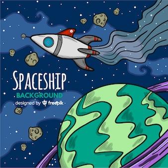 Fondo dibujado a mano de astronave