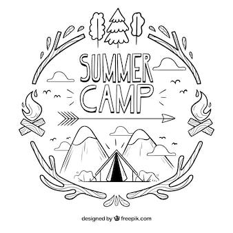 Fondo dibujado a mano de campamento de verano
