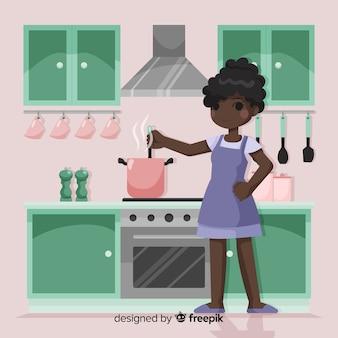 Fondo dibujado a mano chica cocinando
