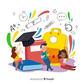 Fondo dibujado a mano concepto universidad