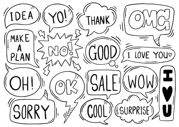 Fondo dibujado a mano conjunto de texto de burbuja de discurso lindo eith en estilo doodle