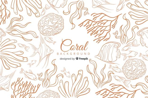 Fondo dibujado a mano coral colorido