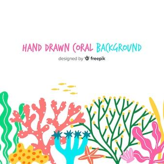 Fondo dibujado a mano coral