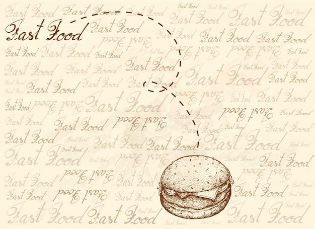 Fondo dibujado a mano de deliciosa hamburguesa de cerdo