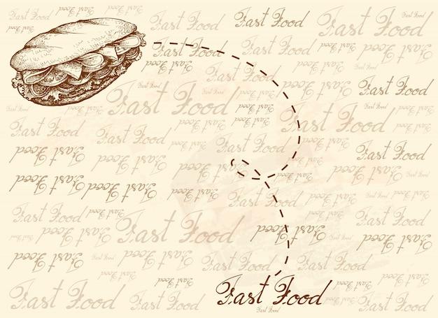 Fondo dibujado a mano de delicioso sándwich de baguette