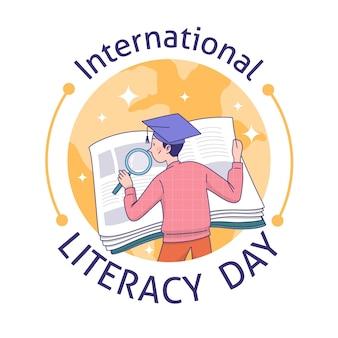 Fondo dibujado a mano día internacional de la alfabetización