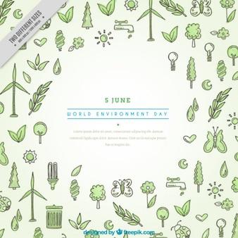 Fondo dibujado a mano del día internacional del medioambiente