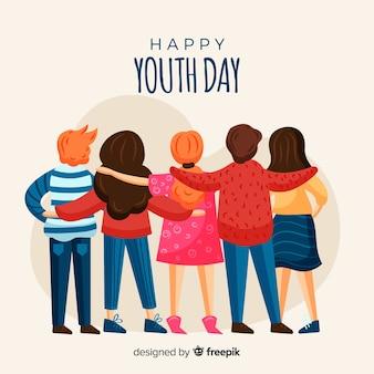 Fondo dibujado a mano del día de la juventud.