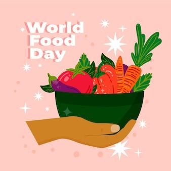Fondo dibujado a mano del día mundial de la alimentación con tazón de verduras