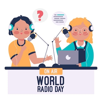 Fondo dibujado a mano del día mundial de la radio con personajes