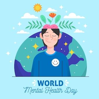 Fondo dibujado a mano del día mundial de la salud mental