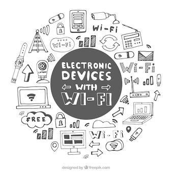 Fondo dibujado a mano con dispositivos electrónicos