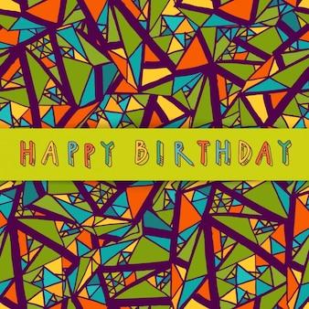 Fondo dibujado a mano con elementos geométricos para cumpleaños