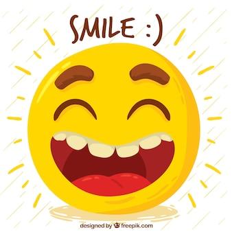 Fondo dibujado a mano de emoticono feliz