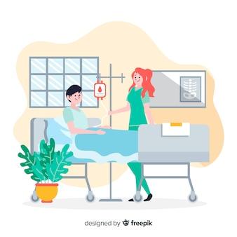 Fondo dibujado a mano enfermera ayudando a paciente