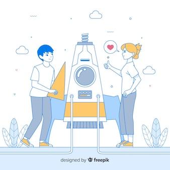 Fondo dibujado a mano equipo construyendo cohete