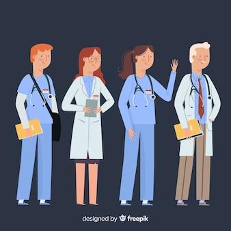 Fondo dibujado a mano equipo de enfermería