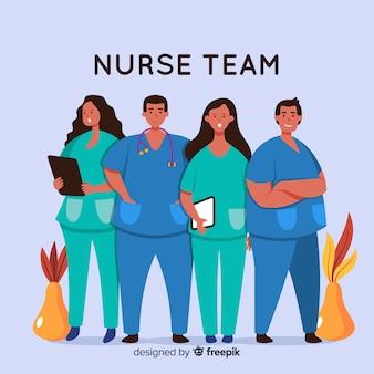 Fondo dibujado a mano equipo de enfermeros