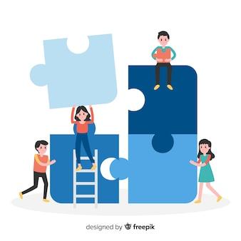 Fondo dibujado a mano equipo haciendo puzzle