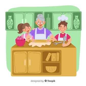 Fondo dibujado a mano familia cocinando