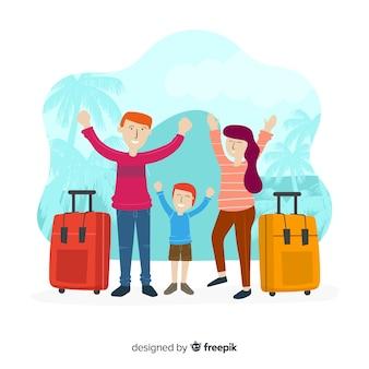 Fondo dibujado a mano familia viajando