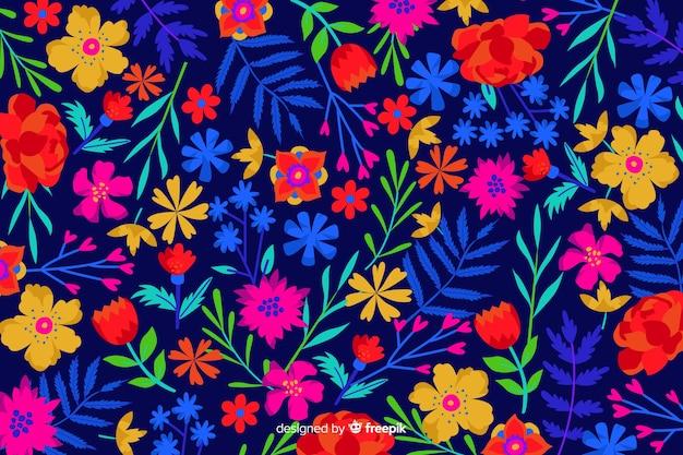 Fondo dibujado a mano floral colorido