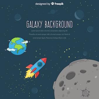 Fondo dibujado a mano de galaxia