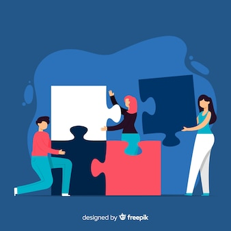 Fondo dibujado a mano gente haciendo puzle