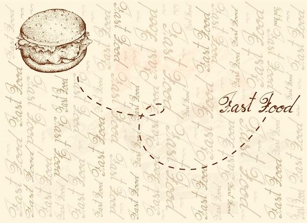 Fondo dibujado a mano de hamburguesa de pollo frito
