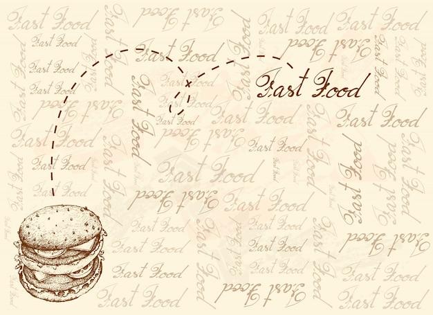 Fondo dibujado a mano de hamburguesa recién ternera