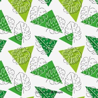 Fondo dibujado a mano hojas de monstera y triángulos