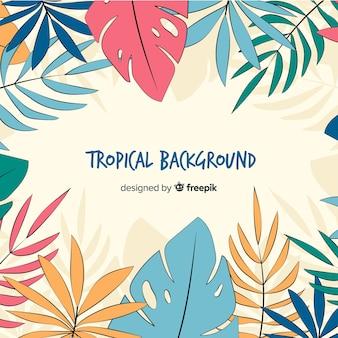 Fondo dibujado a mano hojas tropicales