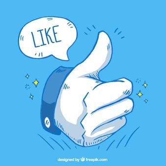 Fondo dibujado a mano con icono de me gusta y burbuja de discurso