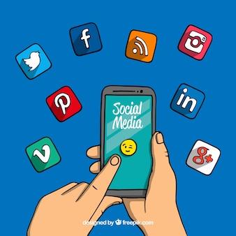 Fondo dibujado a mano con iconos de redes sociales