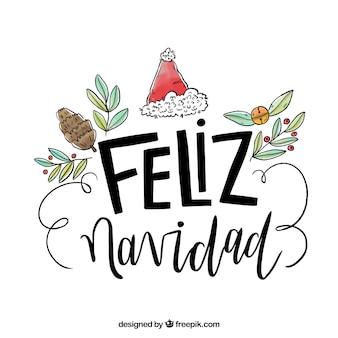 Fondo dibujado a mano de lettering de feliz navidad