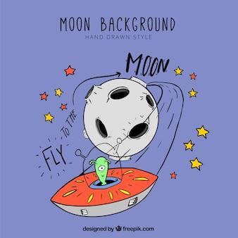 Fondo dibujado a mano de la luna y un marciano