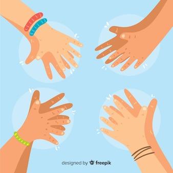 Fondo dibujado a mano manos aplaudiendo
