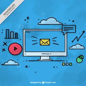 Fondo dibujado a mano de ordenador y conceptos de marketing
