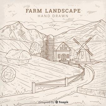 Fondo dibujado a mano paisaje granja sin color