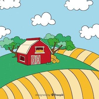 Fondo dibujado a mano paisaje granja