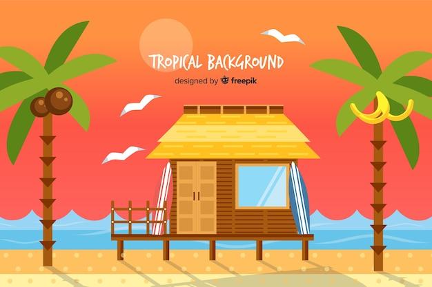 Fondo dibujado a mano paisaje tropical