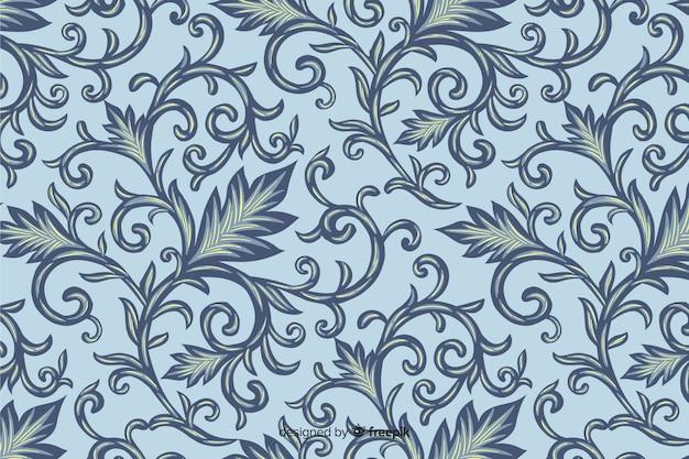 Fondo dibujado a mano con el patrón de damasco