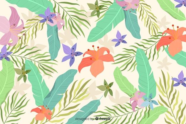 Fondo dibujado a mano plantas tropicales