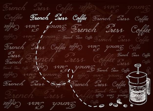 Fondo dibujado a mano de prensa francesa con granos de café