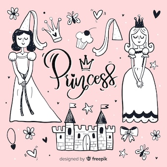 Fondo dibujado a mano princesa y objetos sin color