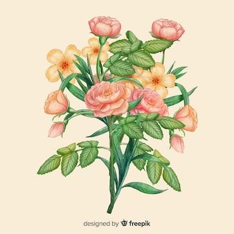 Fondo dibujado a mano ramo de flores vintage